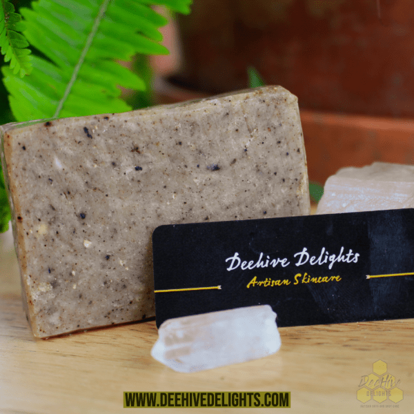 shea butter black soap with lemurian crystal