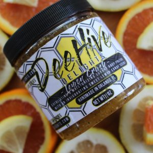 natural body scrub with lemon and orange essential oil
