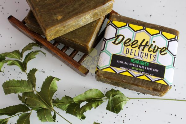 neem soap with neem leaves and soap dish deehive delights